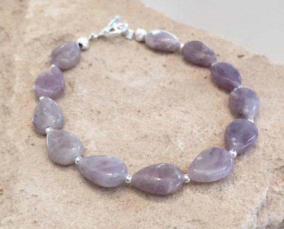 Purple bracelet, pink bracelet, tourmaline bracelet, lilac jasper bracelet, teardrop bead bracelet, boho style bracelet, gift for her