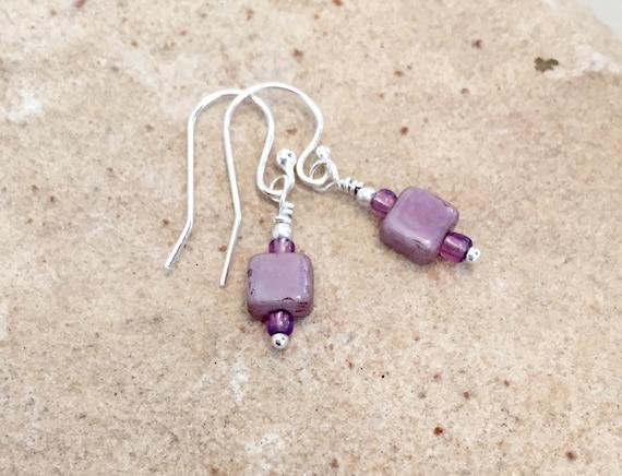 Purple drop earrings, Czech glass tile bead earrings, seed bead earrings, sterling silver drop earrings, dangle earrings, small earrings