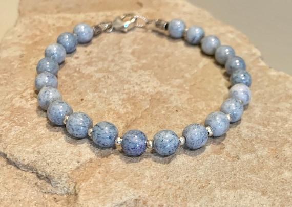Blue bracelet, Czech glass bead bracelet, Hill Tribe silver bracelet, everyday bracelet, boho chic, yoga bracelet, gift for her
