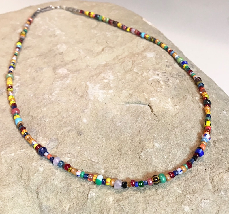 colorful necklace gift for her Multicolored necklace layering necklace,statement necklace sundance style necklace seed bead necklace