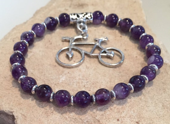Purple bracelet, amethyst gemstone bracelet, cycling bracelet, bracelet for athlete, bracelet for cyclist, stretch bracelet, athletics