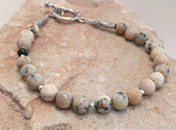 Opal bracelet, African opal beads, boho style bracelet, sterling silver bracelet, Hill Tribe silver bracelet, gift for her, natural bracelet
