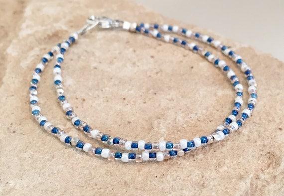 Blue double strand bracelet, single strand seed bead bracelet, Hill Tribe silver bracelet, boho style bracelet, sterling silver bracelet