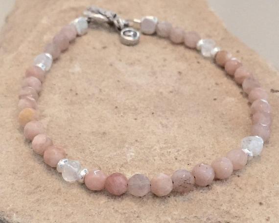 Peach bracelet, sunstone bracelet, gemstone bracelet, moonstone bracelet, Hill Tribe silver bracelet, charm bracelet, natural bracelet
