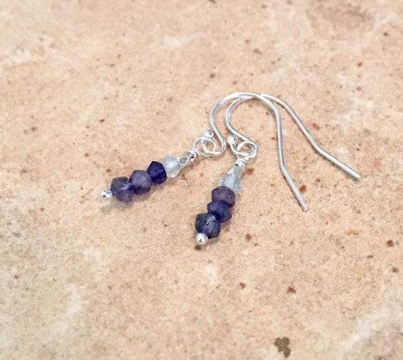 London blue quartz and aquamarine drop earrings, Hill Tribe silver earrings, dangle earrings, silver drop earrings, Sundance earrings
