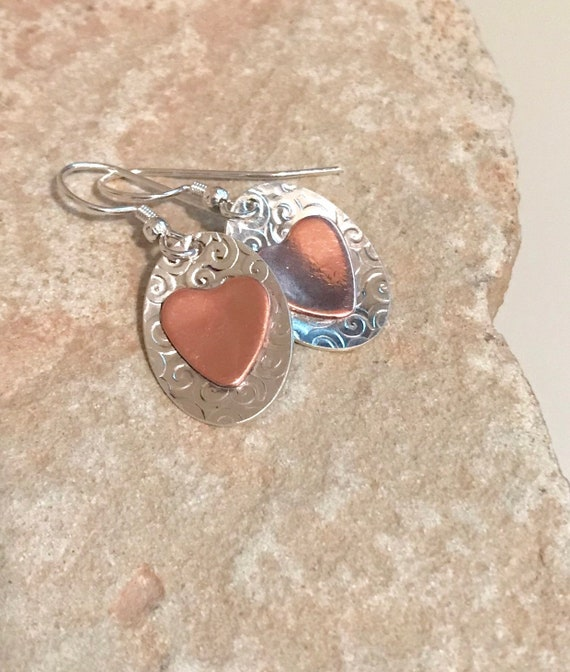 Sterling silver and copper drop earrings, heart earrings, silver dangle earrings, handmade earrings, everyday earrings, mixed metal earrings