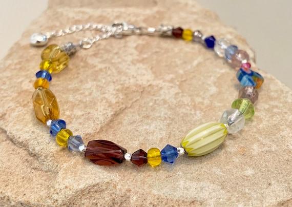 Multicolored bracelet, boho bead bracelet, sterling silver bracelet, beach bracelet, yoga bracelet, heart charm, boho bracelet, boho chic