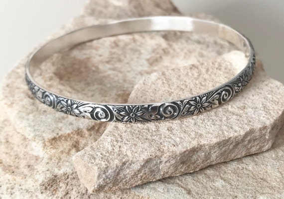 Oxidized sterling silver patterned bangle bracelet, pattern bangle bracelet, stackable sterling silver bracelet, sterling silver bangle
