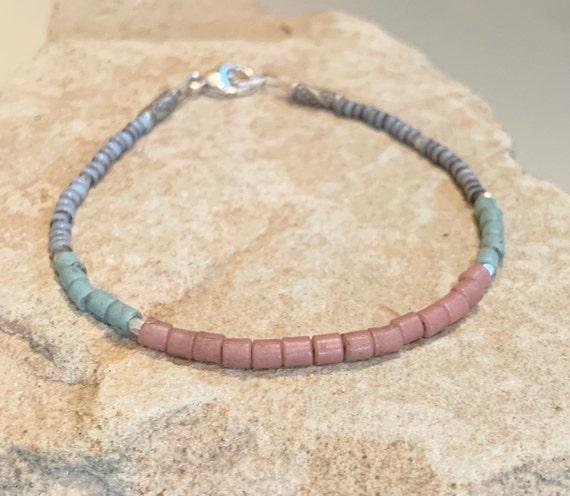 Pink and blue beaded bracelet, seed bead bracelet, Hill Tribe silver bracelet, boho bracelet, sundance bracelet, fall bracelet, boho chic