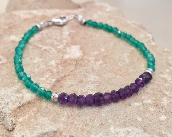 Purple and green bracelet, amethyst bracelet, peridot bracelet, Hill Tribe silver bracelet, sundance bracelet, gemstone bracelet, boho chic