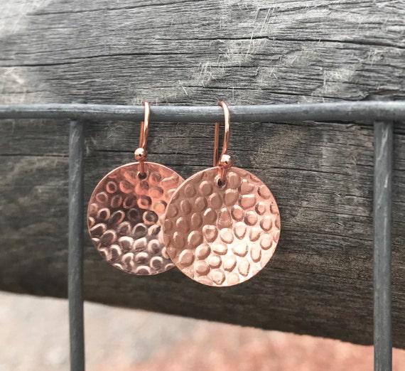 Copper handmade drop earrings, dangle earrings, copper dangle earrings with copper ear wires, gift for her, metal earrings, gift for wife