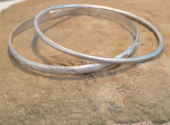 Sterling silver bangle bracelets, round bangle bracelet, half round with pattern bangle bracelet, stackable sterling silver bracelets