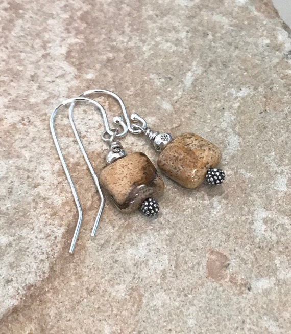 Jasper dangle earrings, silver dangle earrings, Hill Tribe silver earrings, gemstone earrings, natural earrings, boho earrings, gift for her