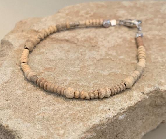 Natural single strand bead bracelet, Mali clay bead bracelet, sterling silver bracelet, everyday bracelet, unique bracelet, boho chic