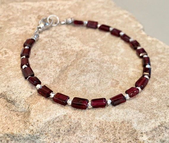 Red bracelet, garnet bracelet, everyday bracelet, Hill Tribe silver bracelet, January birthstone, gemstone bracelet, gift for her, boho chic
