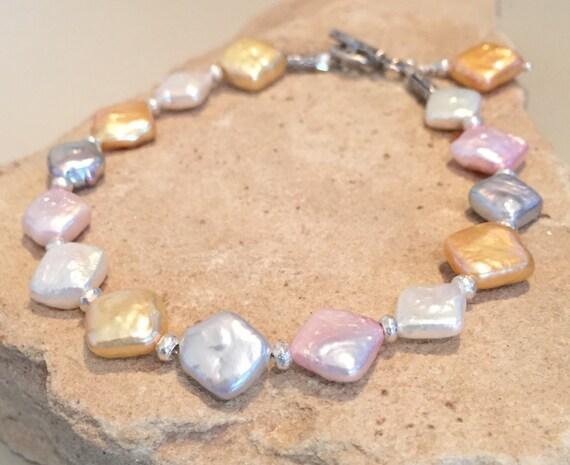 Multicolored bracelet, pastel bracelet, pearl bracelet, Hill Tribe silver bracelet, unique bracelet, boho bracelet, gift for her, boho chic