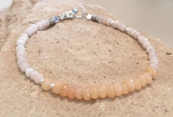 Peach bracelet, jade bracelet, sterling silver bracelet, sundance bracelet, dainty bracelet, summer bracelet, gift for her, gift for mom