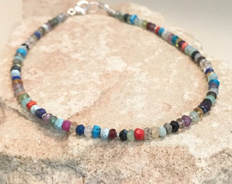 Multicolored anklet, gemstone anklet, Hill Tribe silver anklet, colorful ankle bracelet, sundance style, gift for her, body jewelry