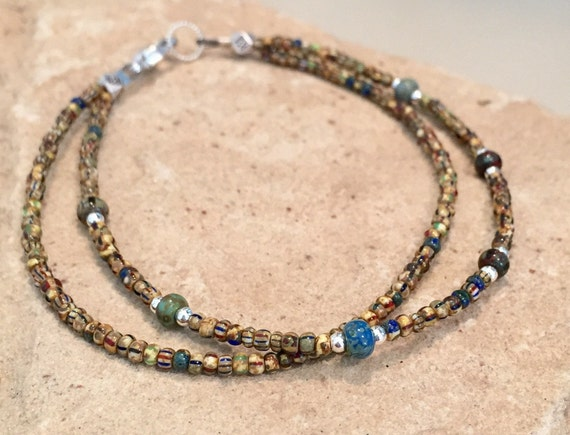 Multicolored bracelet, Czech seed bead bracelet, dainty bracelet, sterling silver bracelet, boho bracelet, gift for her, everyday bracelet