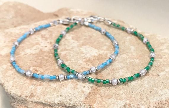 Blue bracelet, green bracelet, seed bead bracelet, crystal quartz bracelet, sterling silver bracelet, sundance bracelet, small bracelet
