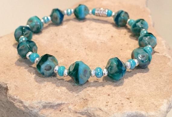 Blue and green bracelet, Czech glass bead bracelet, seed bead bracelet, stretch bracelet, Hill Tribe silver bracelet, elastic bracelet