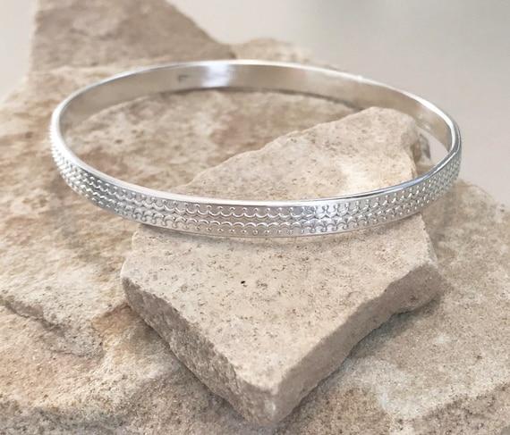 Sterling silver patterned bangle bracelet, pattern bangle bracelet, stackable sterling silver bracelet, sterling silver bangle, gift for her