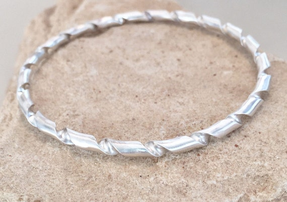 Sterling silver bangle bracelet, twisted bangle bracelet, stackable sterling silver bracelet, stackable bracelet, sterling silver bracelet