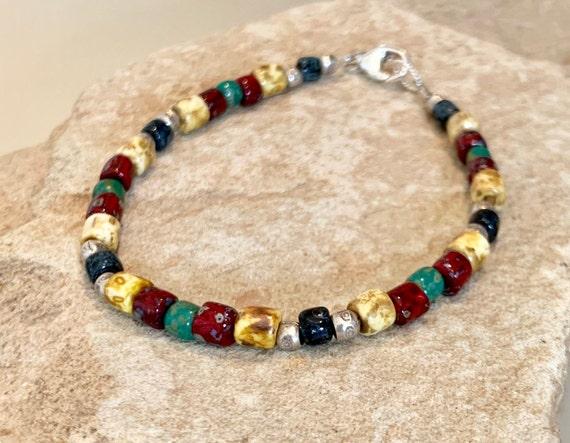 Multicolored bracelet, Czech glass bead bracelet, Hill Tribe silver bracelet, single strand bracelet, fall bracelet, boho bracelet