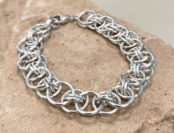 Sterling silver chain maille bracelet, parallel chain maille bracelet, stackable sterling silver bracelet, chain bracelet, silver bracelet