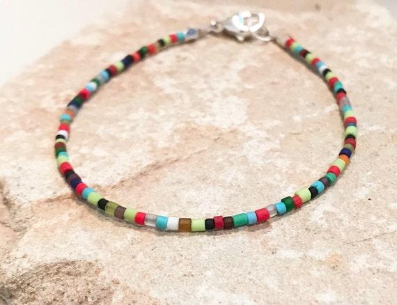 Multicolored seed bead bracelet, African seed bead bracelet, sterling silver bracelet, colorful bracelet, gift for her, festive bracelet