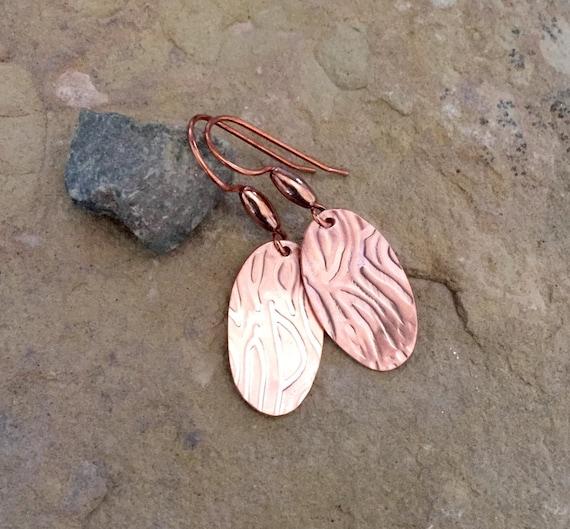 Copper handmade drop earrings, dangle earrings, copper dangle earrings, handmade copper earrings, drop earrings, gift for her, gift for wife