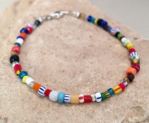 Multicolored seed bead bracelet, African Christmas bead bracelet Hill Tribe silver bracelet, colorful bracelet, boho bracelet, gift for her
