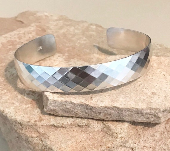 Sterling silver patterned cuff bracelet, wide pattern cuff bracelet, stackable sterling silver bracelet, sterling silver cuff, gift for her
