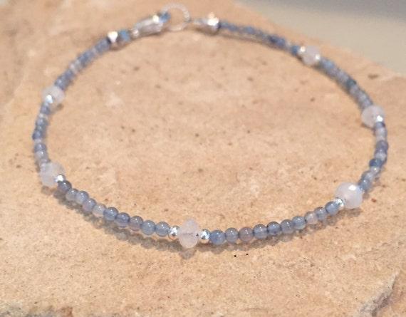 Blue bracelet, gemstone bracelet, sundance bracelet, blue quartz bracelet, moonstone bracelet, sterling silver bracelet, gift for her