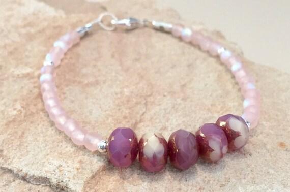 Pink bracelet, Czech glass bead bracelet, sterling silver bracelet, chunky bracelet, boho bracelet, gift for her, gift for wife, boho chic