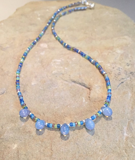 Blue necklace, seed bead necklace, layering necklace, Czech teardrop beads, sterling silver necklace, minimalist necklace, gift for her