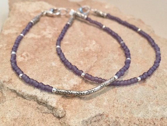 Purple seed bead bracelets, Hill Tribe silver curved tube bead, noodle bracelet, small bracelet, boho bracelet, gift for her, gift for wife