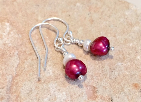 Red drop earrings, freshwater pearl drop earrings, sterling silver drop earrings, red dangle earrings, pearl earrings, silver earrings