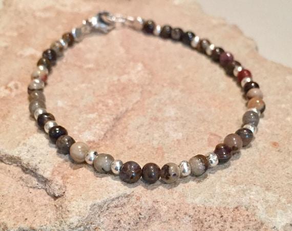 Brown bracelet, jasper bracelet, Hill Tribe silver bracelet, sundance bracelet, gemstone bracelet, sterling silver bracelet, gift for her