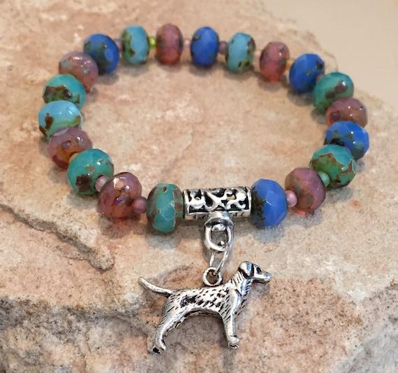 Multicolored bracelet, bracelet for dog lover, gift for dog lover, Czech glass bead bracelet, stretch bracelet, elastic bracelet, dog charm