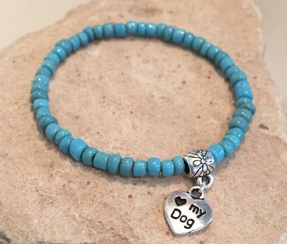 Blue bracelet, African glass bead bracelet, bracelet for dog lover, gift for dog lover, dog charm, stretch bracelet, elastic bracelet