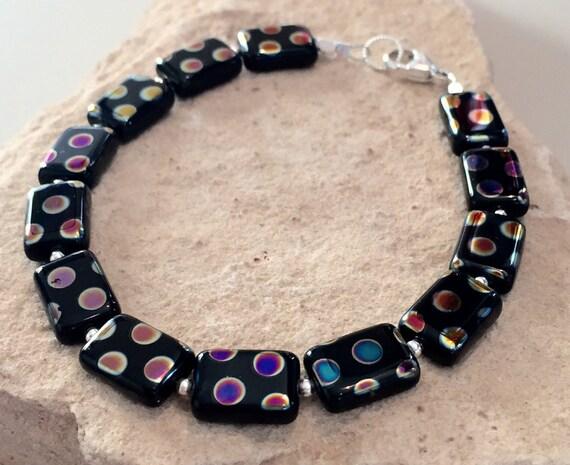 Black bracelet, polka dot bead bracelet, Czech bead bracelet, sterling silver bracelet, unique bracelet, gift for her, gift for wife