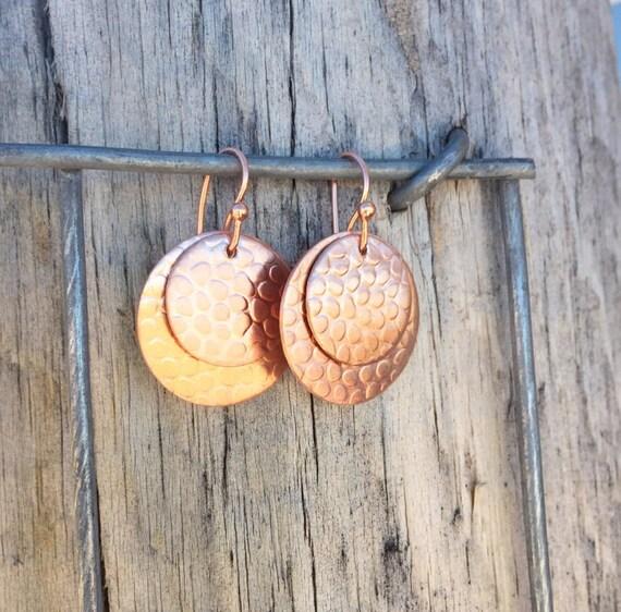Copper handmade drop earrings, dangle earrings, copper dangle earrings with copper ear wires, drop earrings, handmade earrings, gift for her
