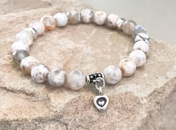Ivory bracelet, agate bracelet, gemstone bracelet, natural bracelet, Hill Tribe silver bracelet, elastic bracelet, charm bracelet, boho chic