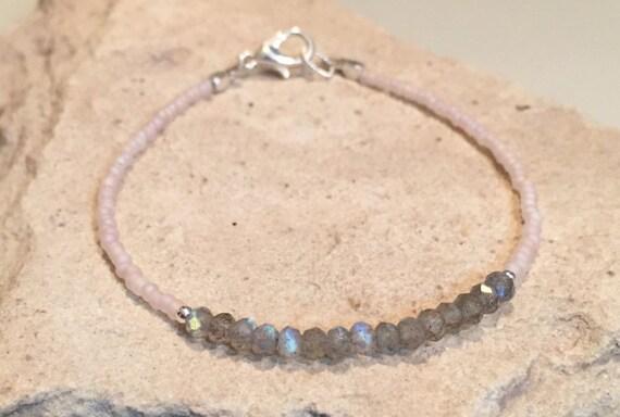 Pink and gray bracelet, seed bead bracelet, labradorite bracelet, sterling silver bracelet, stackable braclet, minimalist jewelry, boho chic