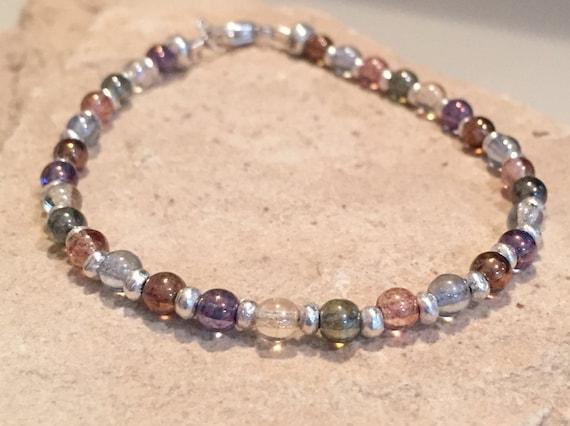 Multicolored bracelet, glass luster bead bracelet, Hill Tribe silver bracelet, boho style bracelet, dainty bracelet, gift for her, boho chic