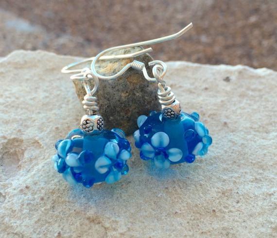 Pretty blue lampwork glass bead drop earrings, dangle earrings, sterling silver earrings, glass drop earrings, blue dangle earrings