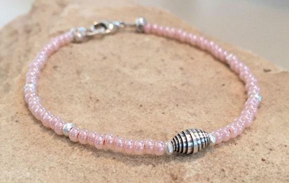 Pink bracelet, Czech glass seed bead bracelet, Hill Tribe silver bracelet, yoga bracelet, pink seed bead bracelet, everyday bracelet, boho