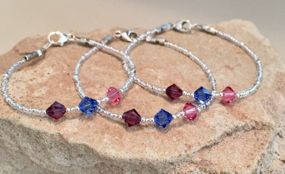 Mother-daughter-grandmother bracelet, mother-daughter bracelet, Swarovski birthstone bracelet sets, gift for daughter, gift for mom