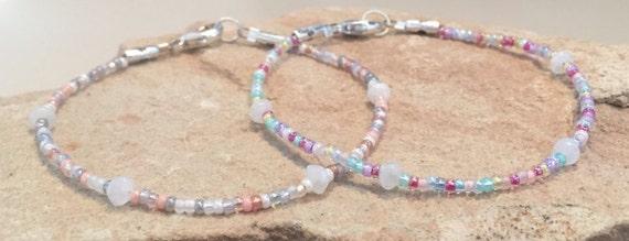 Multicolored seed bead bracelet, moonstone bracelet, single strand bracelets, boho bracelet, dainty bracelet, gift for her, gift for wife